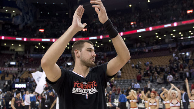 0ae37b02479 Jonas Valanciunas and the Toronto Raptors will begin their season at the  Air Canada Centre with a showdown with the Boston Celtics.