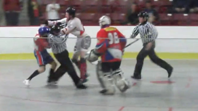 Canada Vs. Russia ball Hockey Fight - YouTube