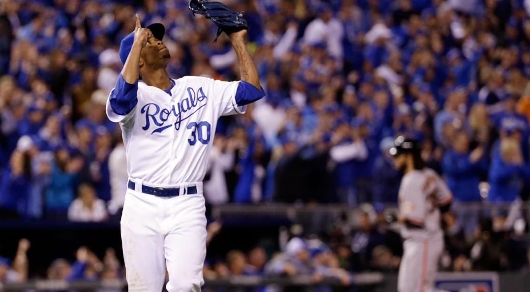 6a39780fb Royals pitcher Yordano Ventura reacts as he completes the top of the  seventh inning of Game 6 of the World Series. (David J. Phillip AP)