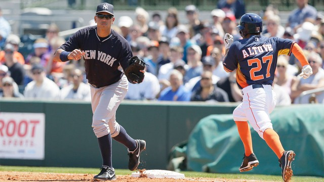 A rod makes first career appearance at first base for Mercedes benz alex rodriguez houston