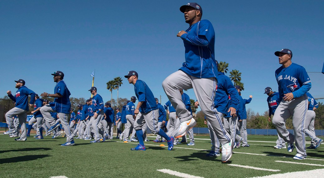 more photos 38843 fe9bf Toronto Blue Jays first baseman Edwin Encarnacion leads a running drill at  spring training (Frank Gunn CP)