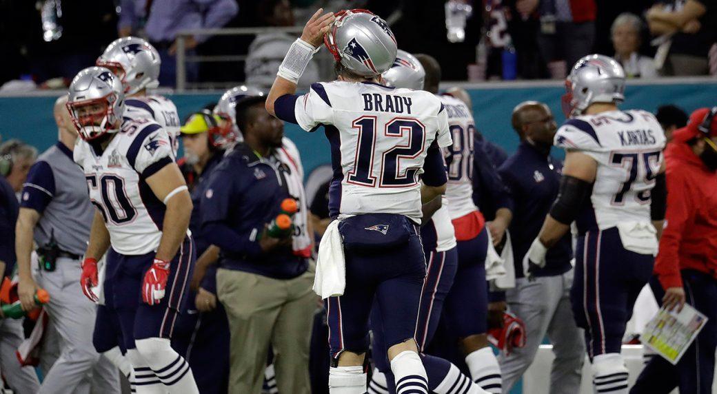 Watch: Brady throws pick-6 as Falcons dominate first half of Super Bowl LI