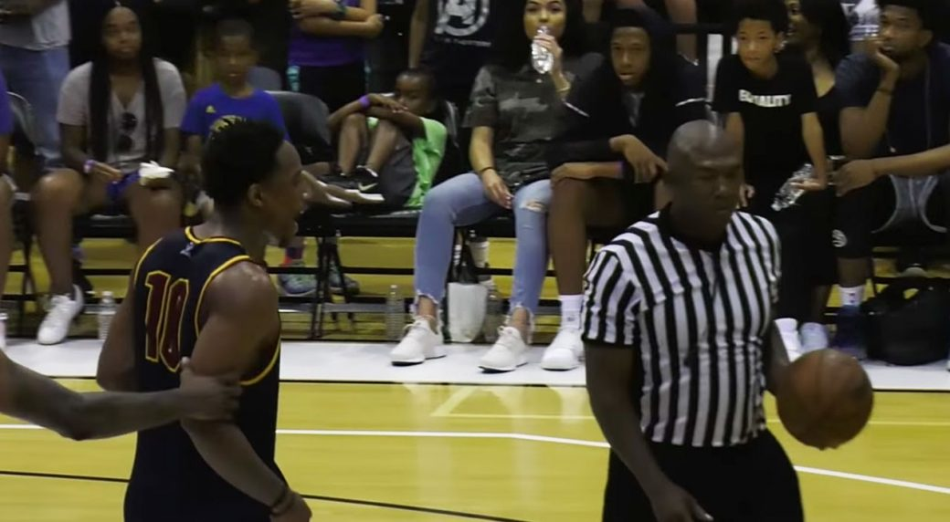 DeMar DeRozan throws basketball at referee during pro-am game