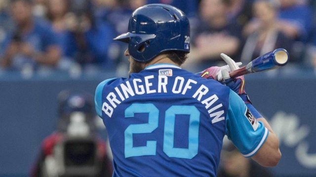 Toronto-Blue-Jays-designated-hitter-Josh-Donaldson-displays-his-nickname-on-the-back-of-his-shirt-as-he-faces-Minnesota-Twins-during-first-inning-Major-League-baseball-action-in-Toronto-on-Friday,-August-25,-2017.-(Chris-Young/CP)