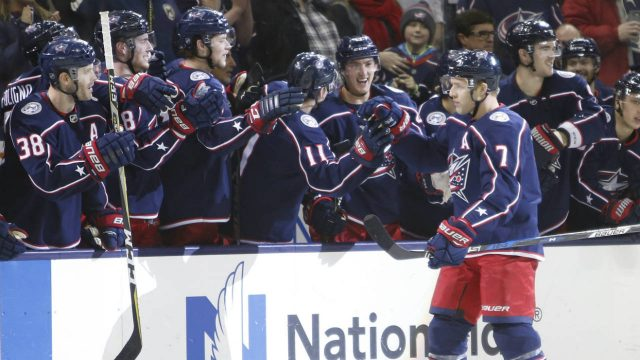 Columbus-Blue-Jackets'-Jack-Johnson-celebrates-his-goal-against-the-Florida-Panthers-during-the-shootout-period-of-an-NHL-hockey-game-Sunday,-Jan.-7,-2018,-in-Columbus,-Ohio.-(Jay-LaPrete/AP)