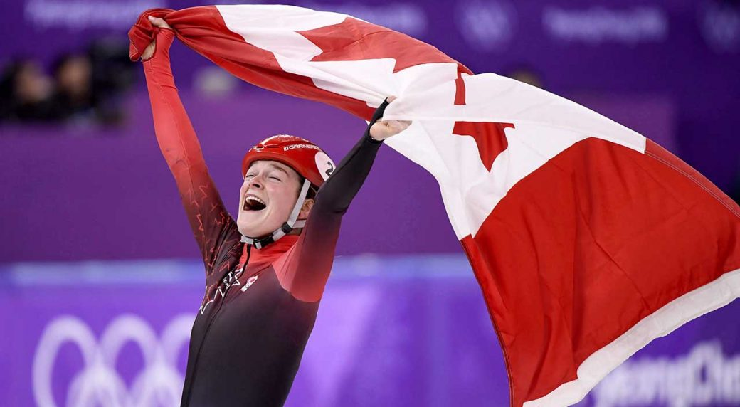 Canada's-Kim-Boutin,-of-Sherbrooke,-Que.,-celebrates-after-winning-bronze-in-the-women's-1500-metre-short-track-speedskating