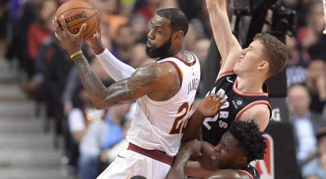 2da54d16a985 Cleveland Cavaliers forward LeBron James (23) grabs a rebound in front of  Toronto Raptors centre Jakob Poeltl (42) and forward OG Anunoby (3) during  first ...