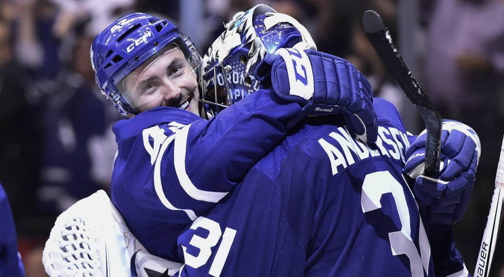 f296a847bb0 Toronto Maple Leafs centre Tyler Bozak (42) and goaltender Frederik  Andersen (31) celebrate their win over the Boston Bruins in NHL round one playoff  hockey ...