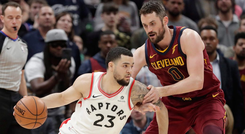 toronto raptors fred vanvleet 23 drives against cleveland cavaliers kevin love 0 during the second half of an nba basketball game wednesday march 21
