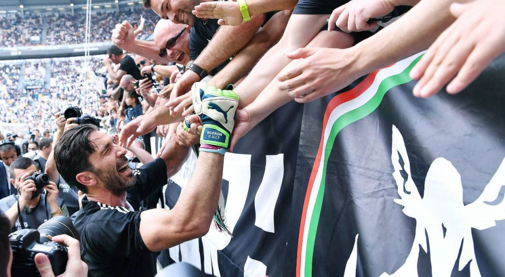 bec9c60f4 Juventus goalie Gianluigi Buffon greets supporters prior to the Serie A  soccer match between Juventus and Hellas Verona