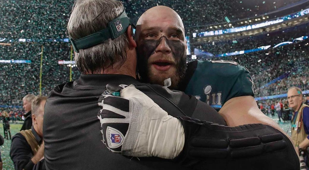 Eagles' Lane Johnson continues to take shots at Patriots