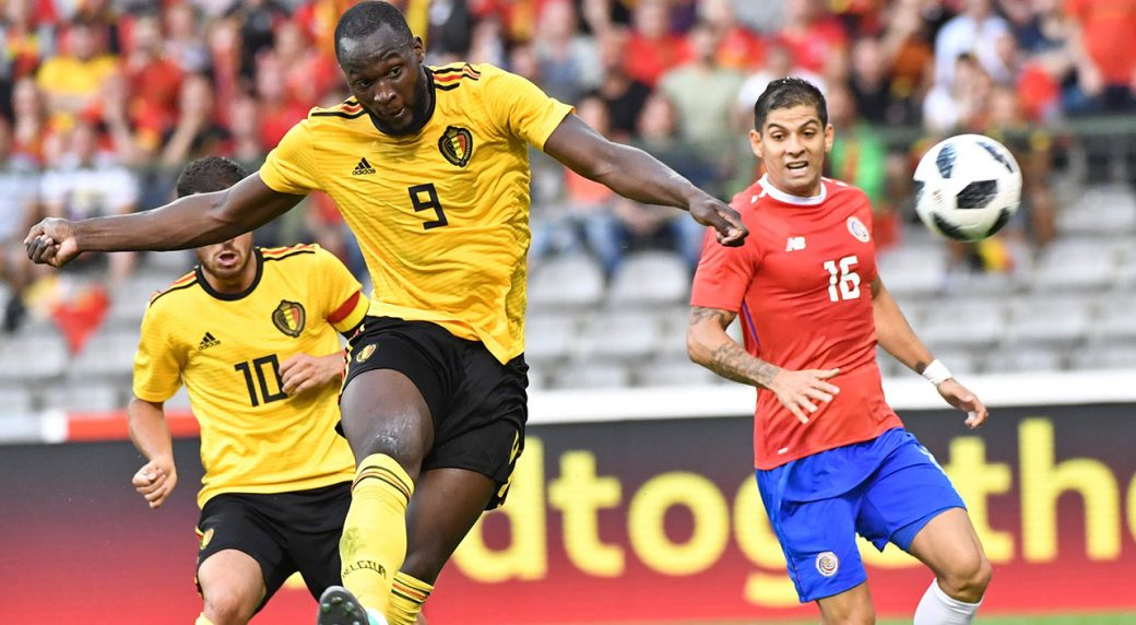 Belgiums Romelu Lukaku Center Takes A Shot On Goal During A Friendly Soccer Match Between Belgium And Costa Rica At The King Baudouin Stadium In Brussels