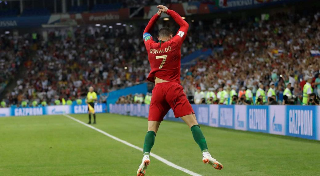 3fc51823175 Portugal s Cristiano Ronaldo celebrates after scoring during the Group B  match between Portugal and Spain at the 2018 World Cup in the Fisht Stadium  in ...