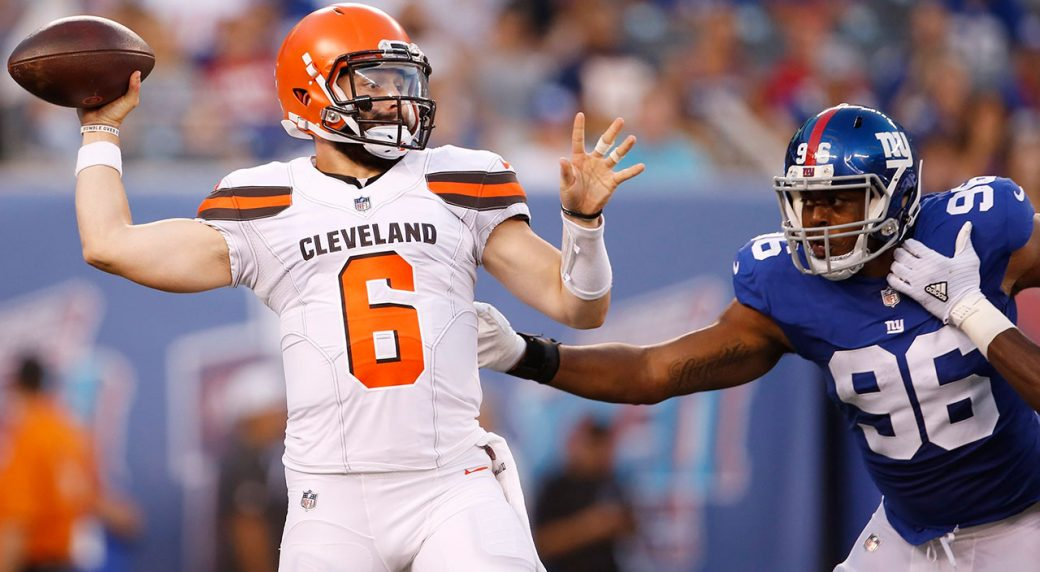 Cleveland Browns quarterback Baker Mayfield (6) throws a pass away from New  York Giants  Kareem Martin (96) during the first half of a preseason NFL ... 218757b70
