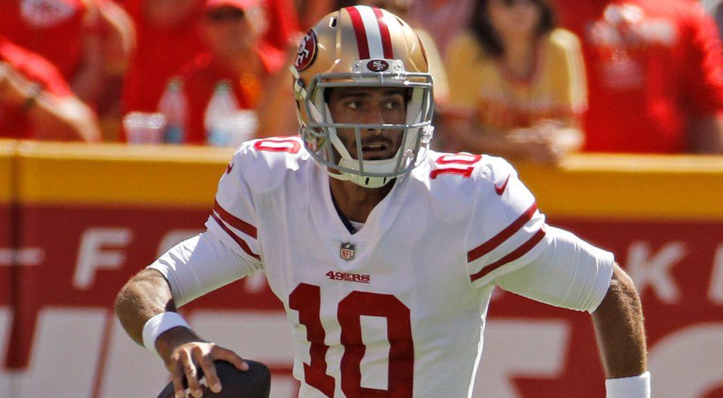 4b4483a5fe9 49ers fear QB Garoppolo tore ACL vs. Chiefs. San Francisco 49ers  quarterback Jimmy Garoppolo (10).