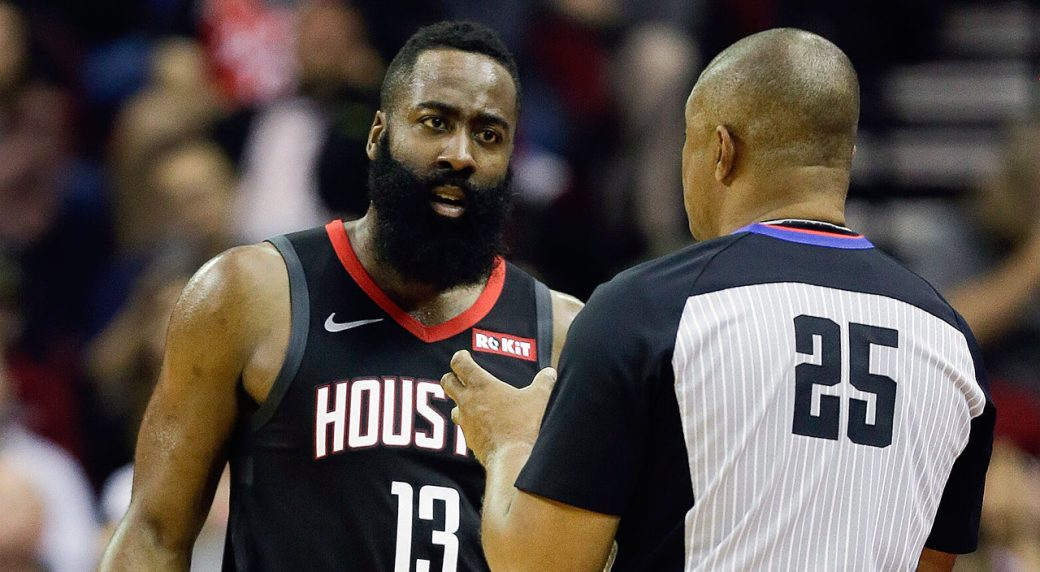 James Harden of Houston Rockets exits with hamstring tightness