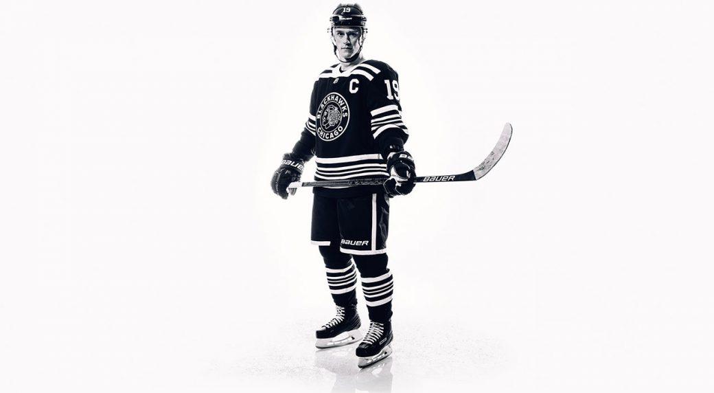 Chicago Blackhawks captain Jonathan Toews poses in his team s 2019 Winter  Classic uniform. (Chicago Blackhawks) c27273ab8