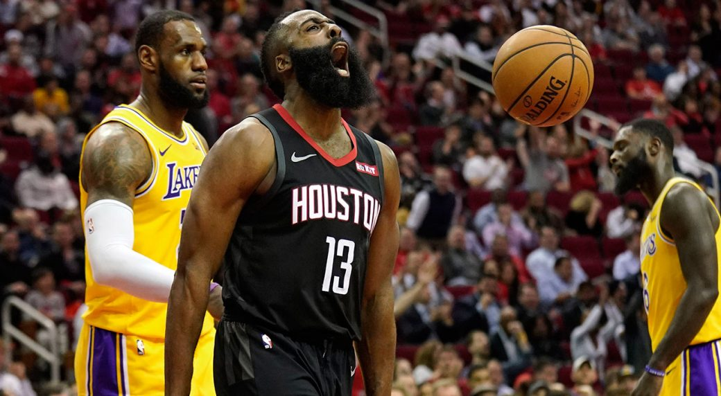 99a98b3aab42 Houston Rockets  James Harden (13) screams after making a basket as Los  Angeles Lakers  LeBron James