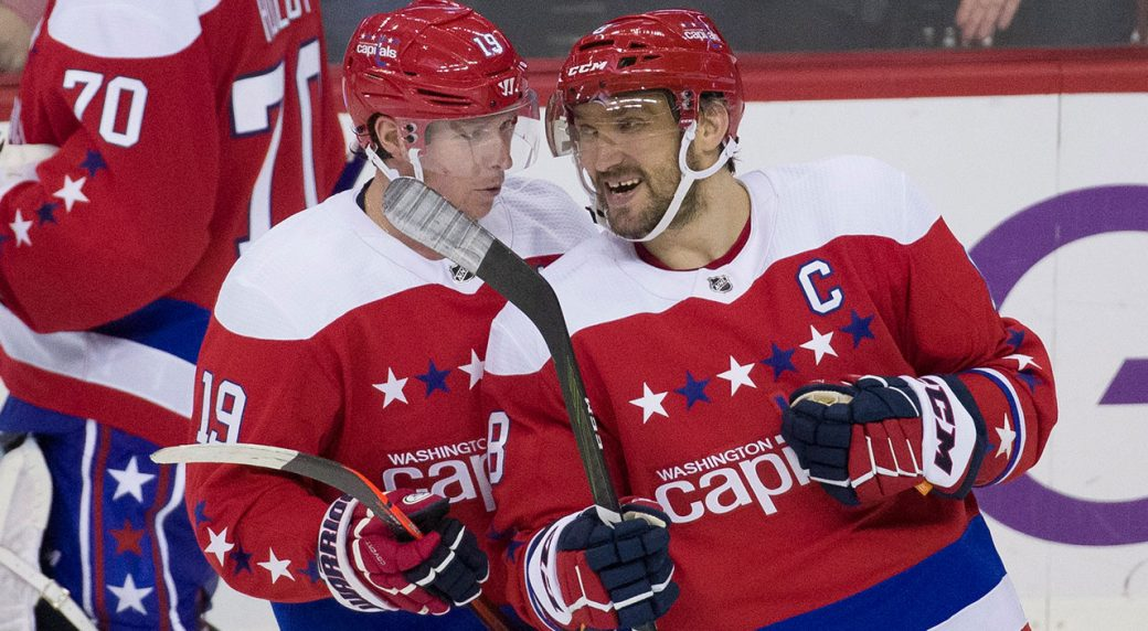 Washington Capitals Nicklas Backstrom and Alex Ovechkin talk after  Backstrom s goal during the third period of an NHL hockey game against the  New Jersey ... 969d803ed