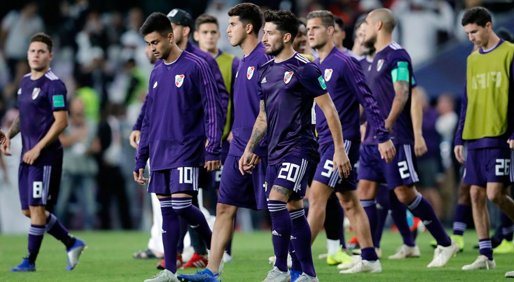 2a1432dff3 Argentina s River Plate players leave the field after a penalty shootout at  the end of the Club World Cup semifinal soccer match between Al Ain Club  and ...