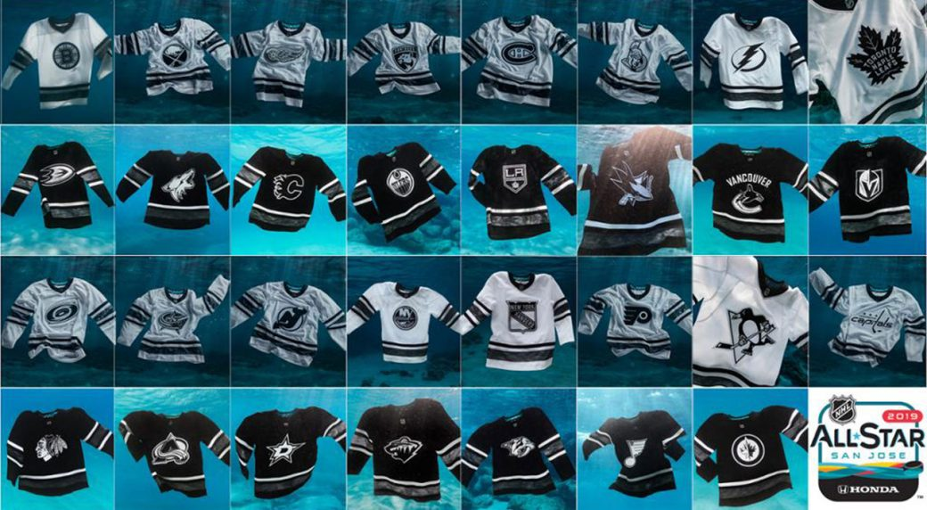 All jerseys to be worn during the All-Star Weekend contain marine plastic  debris. (NHL PR) cae0ad330