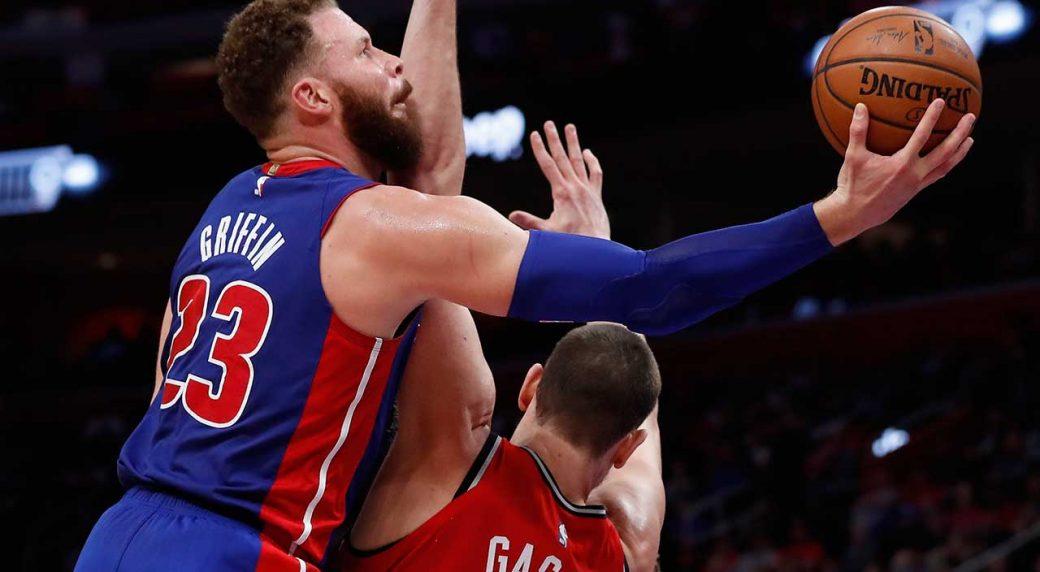 Griffin, Pistons outlast Raptors in OT