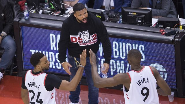 raptors-norm-powell-and-serge-ibaka-celebrate-in-front-of-drake